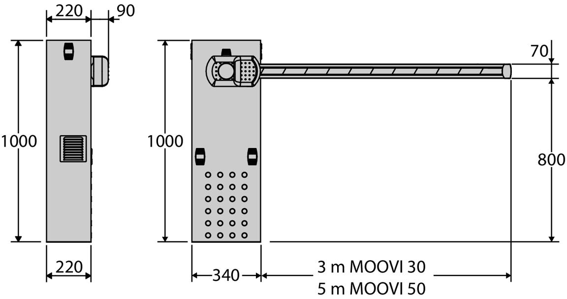 Paceļamā automātiskā barjera BFT MOOVI 50 garums līdz 5 metri