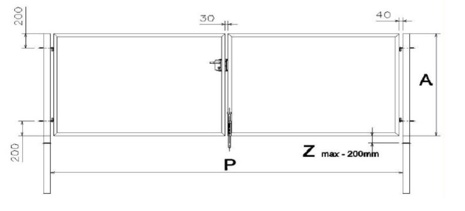 Divviru veramie vārti platums - 4000mm, augstums - 1500mm