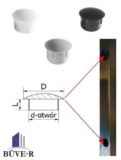 Plastmasas vāciņi tehniskiem caurumiem d-12mm, D-15mm
