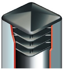 Plastmasas piramīdveida - vāciņi, cepurītes, korķi profilam 20x20mm