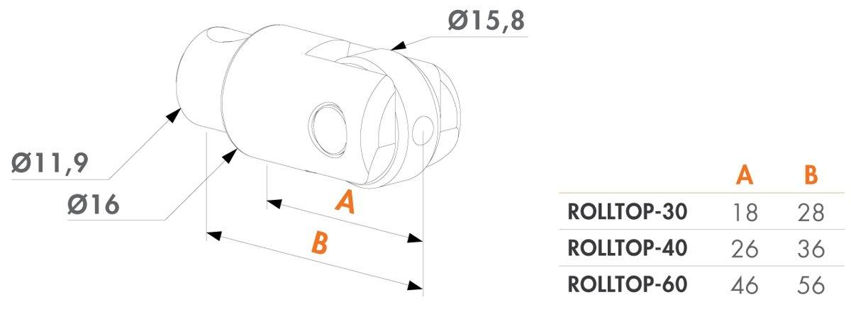 Regulējama bulta ar rullīti - 30 mm profiliem