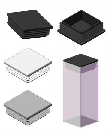 Plastmasas - vāciņi, cepurītes, korķi profilam 40x20mm